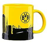 BVB 09 Borussia Dortmund Tasse Skyline aus Steingut 0,475 l Kaffeetasse Kaffeebecher Becher Pott - plus gratis Aufkleber forever Dortmund