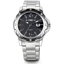 JewelryWe New Arrivals Quartz Movt Boys Mens Watch Stainless Steel Band Date Stylish Wrist Watch
