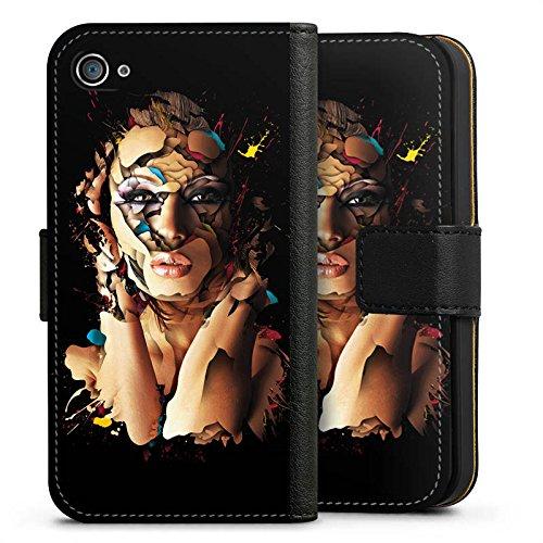 Apple iPhone X Silikon Hülle Case Schutzhülle Frau Gesicht Augen Sideflip Tasche schwarz