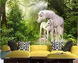HONGYUANZHANG Beibehang Kinderzimmer Wand Benutzerdefinierte Tapete Natur Grün Wald Weißes Pferd Hochwertige Seidenmaterial 3D Tapete Behang,350cm (H) X 430cm (W)