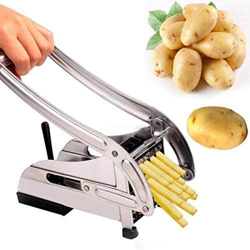 BESTOMZ Edelstahl-Gemüseschneider, für Kartoffeln, Pommes (Silber) French Fry Cutter