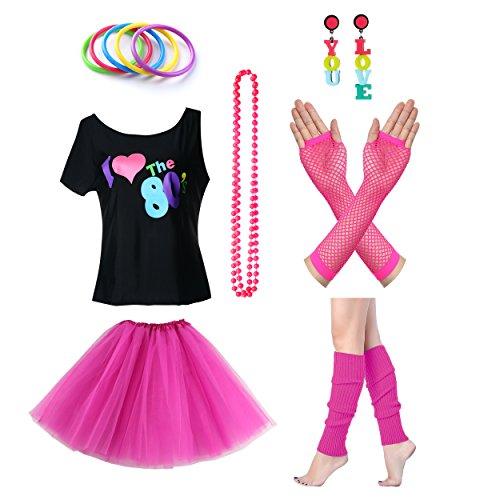 amen I Love The 80er Jahre T-Shirt 80er Jahre Outfit Zubehör (3 Passende Girl Kostüme)