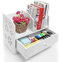 Home de Neat DIY Madera Libro Estantería Rack Oficina Desktop Organizador Estantería/aislada de organización de escritorio Caddy, retención estacionario 40