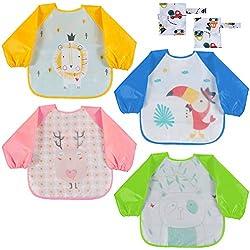 Lictin 6Pcs Unisexo Babero con manga larga Doble capa de EVA Impermeable 4 baberos de mangas y 2 conjuntos de bolsos de almacenamiento Impermeable para bebés 6 meses hasta los 3 años