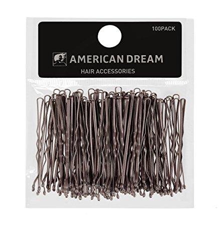 American Dream mossi Bobby pins, marrone 5,1cm/5cm-Confezione da 100