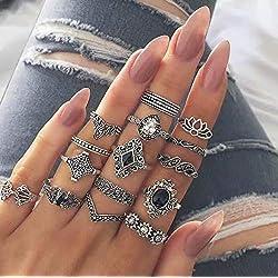Set Phalanx Ring Boho Stone Crystal Black Jewelry, 15 piezas