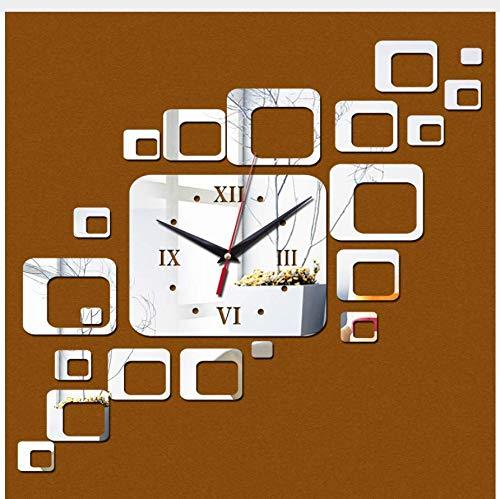 (Menddy Neue Acryl Uhr Dekoration Quarz Uhren Wohnzimmer Safe Modernes Design Große Digitaluhr Aufkleber Silber 40cmx70cm)