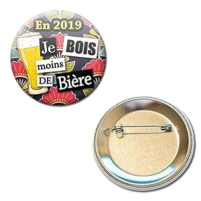 en 2019 je Bois Moins de Bière Badge Rond à Épingle 5,6 centimètres Idée Cadeau Accessoire Bonne Année Résolution Voeux