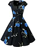 bbonlinedress 1950er Vintage Retro Cocktailkleid Rockabilly V-Ausschnitt Faltenrock Black Blue Brose 2XL