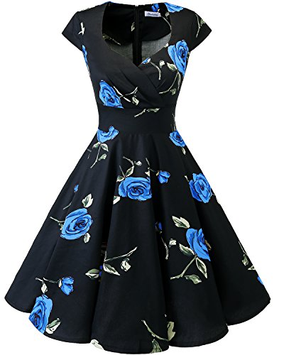 bbonlinedress 1950er Vintage Retro Cocktailkleid Rockabilly V-Ausschnitt Faltenrock Black Blue Brose XL