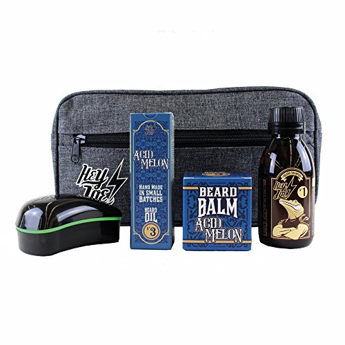 HEY JOE - Bearded Survival KIT Deluxe Nº 3 | Kit de arreglo barbas que incluye: aceite, balsamo, champú, cepillo para barba y neceser de regalo