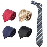 Ties for Men, 5 PCS Segarty Classic Business Men's Silk Necktie Woven Jacquard Formal Neck Tie Lot