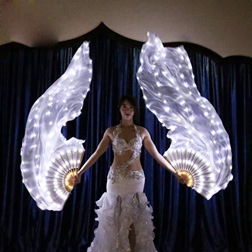 FeiliandaJJ LED Handfächer Bauchtanz Seiden Fächer Bauchtanz Prop Damen Elegant Bühne Aktivitäten Werkzeuge Fächer Hochzeits Halloween Weihnachten Party Dekoration Geschenk (Linke und rechte Hand)