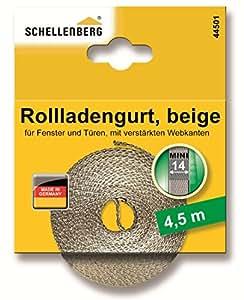 Schellenberg 44501 Sangle de volet roulant pour fenêtre Largeur 14 mm Système Mini 4,5 m Beige