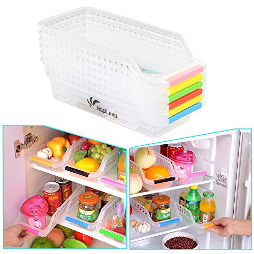 HapiLeap Refrigerator Durable Storage Organizer Fruit Handled Kitchen Collecting Box Basket Rack Stand Basket Container (6Pcs) -