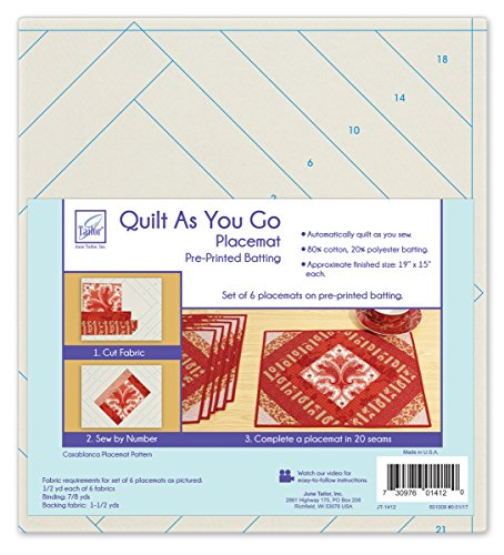 Juni Tailor Quilt AS You GO Tisch-Sets, Mehrfarbig, 24.38 X 28.95 X 8.38 cm