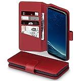Coque Galaxy S8 Plus, Terrapin Étui Housse en Cuir Véritable avec La Fonction Stand pour Samsung Galaxy S8 Plus Case - Rouge