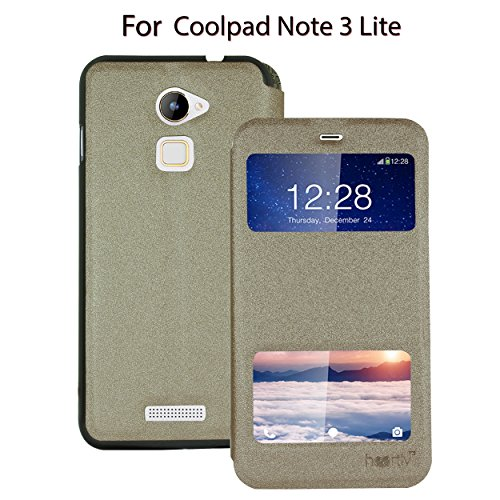 Heartly GoldSand Sparkle Luxury PU Leather Window Flip Stand Back Case Cover For Coolpad Note 3 Lite 5 Inch - Hot Gold