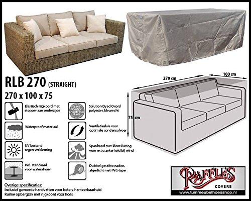 Raffles Covers RLB270straight Schutzhülle für Lounge Gartenbank 270 x 100 cm Loungesofa Abdeckung, Schutzhülle für Gartensofa, Wetterschutz für Rattan Garten Lounge