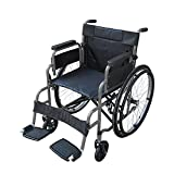 Foldable Electric Wheelchair Pandamoto Wheelchair Puncture Resistant Self Propel Folding Portable Propelled Wheel chair With a Free Pump (S1 Grey)
