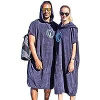 Penguin Poncho - poncho de surf con capucha, bolsillo y bolsa de transporte; talla única para hombre y mujer; poncho de playa; sirve como toalla
