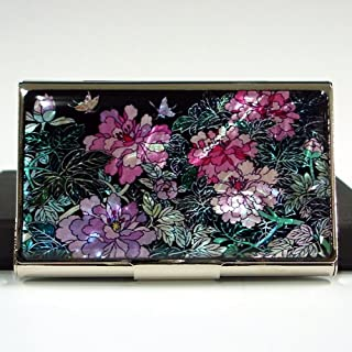 Visitenkartenetui Perlmutt Luxus Neu&OVP Metall Elegant Edelstahl Blumen Pfingstrose Luxus Design