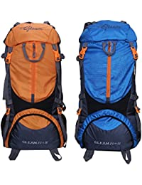 Gleam 0109 Climate Proof Mountain 75 Ltrs Orange & Sky Blue Rucksack Backpack With Rain Cover (set Of 2 Combo)