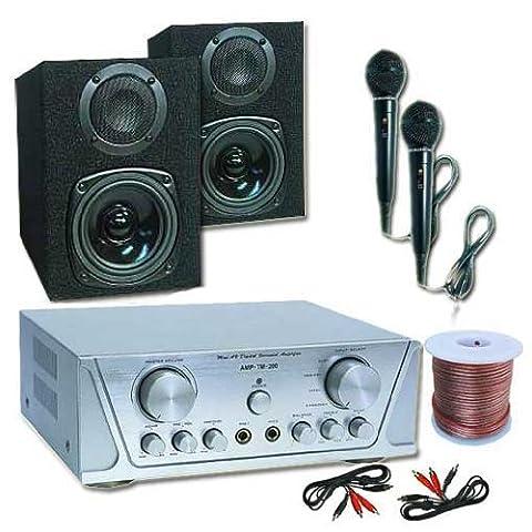 Kleine Pa-Anlage HiFi Komplettset mit MC130 2-Wege Passiv Boxen 100W und TM2000 360W max. Leistung inklusive 2x Mikrofone