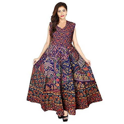 Mudrika Women\'s One Piece Jaipuri Print Cotton Long Dress - Free Size Pure Cotton Women\'s Maxi Long Dress