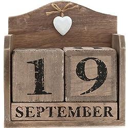 Grande Bloque de madera Calendario de madera corazón Shabby Chic Vintage Regalo