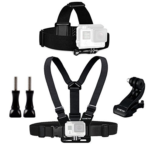 Sametop Gurtsystem Chest Mount Harness Brustgurt Halterung + Kopfband Headstrap Kopfhalterung Kompatibel mit Go Pro Hero 5, 4, Session, 3+, 3, 2, 1 Kameras