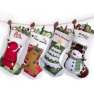 Joyjoz Calcetín navideño marcadores de 3 Colores, Medias navideñas Grandes Personalizadas 3D Hechas a Mano 53cm (4 Pcs)