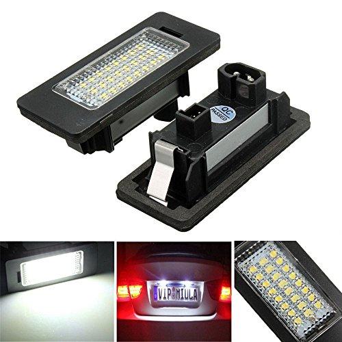 TUINCYN 24SMD LED CANBUS Lampe de plaque d'immatriculation sans erreur universellement utilisée pour le phare de montage BMW E81 E82 E39 X1 / E84 extrêmement blanc (pack de 2)