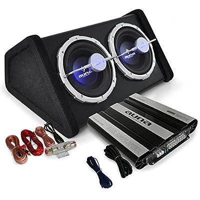 Auto Hifi Boxenset Autoboxen Set Black Line 160 25cm TWIN-Subwoofer, satte 4000W Endstufen Power von Auna - Reifen Onlineshop