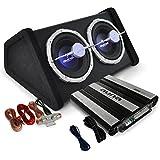 auna Auto Hifi Boxenset Autoboxen Set Black Line 160 25cm TWIN-Subwoofer, satte 4000W Endstufen Power