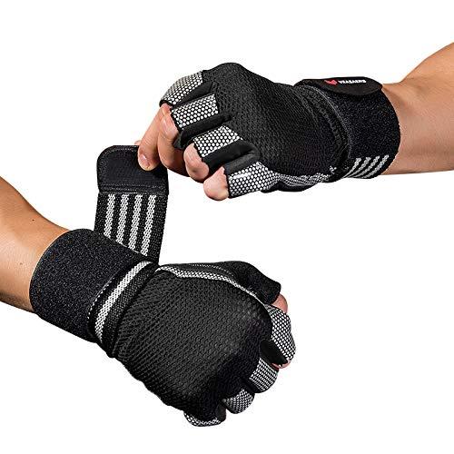 WACCET Fitness Handschuhe, Gewichtheben Handschuhe mit Handgelenkstütze, Trainingshandschuhe Damen Herren für Kraftsport, Bodybuilding, Fitnesstraining, Crossfit Training und Radsportan (Weiß, M)