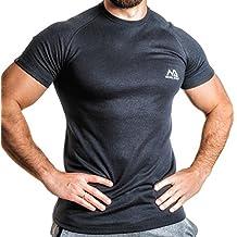 NATURAL ATHLET Thermo T-Shirt Herren Fitness kurzarm mit rundhals tailliert Slim Fit für Sport und Freizeit Training Gym Viloft Elasthan