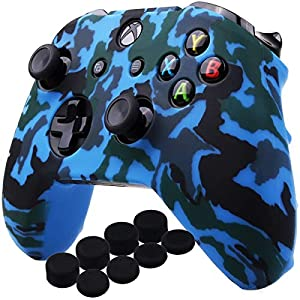 YoRHa Wassertransferdruck Silikon Hülle Abdeckungs Haut Kasten für Microsoft Xbox One X & Xbox One S controllerx 1 (blau) Mit PRO aufsätze thumb grips x 8