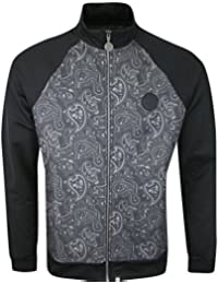Pretty Green Tracky corrigan Mens Black Paisley Pattern Tracksuit Top