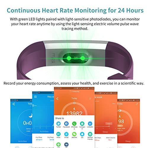 Imagen de muzili pulsera de actividad inteligente fitness tracker reloj deportivo rastreador de actividad con monitor de ritmo cardíaco/contador de pasos/monitor de sueño para niños mujeres y hombres alternativa