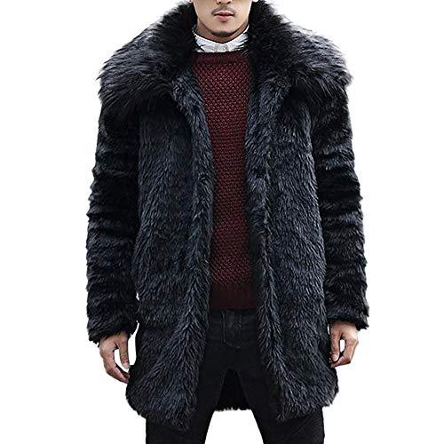 Chinchilla Pelz Jacke (Celucke Mantel Herren Kunstfell Jacke Winter Pelzkragen,Männer Pelzmantel Felljacke Kunstpelz Lange Jacke Faux Fur)