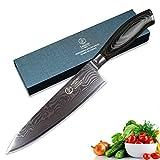 YARENH cuchillos de cocinero 20cm Mejores Cuchillos de Cocina Profesionales Japoneses Damasco Acero cuchillo santoku global cuchillos japoneses profesionales