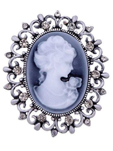 Alilang Vintage inspirierte viktorianischen Cameo Lady Maiden Kristall Strass-Brosche Matte Silberton (Alilang Kristall Brosche)