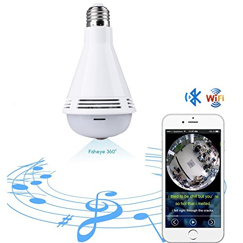 Quanmin Smart VR Panoramic HD 360° Wide Angle Fisheye Wireless Wi-fi E27  LED Light Bulb With Bluetooth For IOS Android APP Remote View Hidden Home