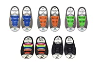 No Tie Shoe Laces Elastic Silicone shoelaces for Kids and Adults shoes Waterproof Easy Pull and Lock Laces (Blue + Orange + Green + Multi-color + Black)