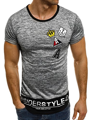 OZONEE Herren T-Shirt mit Motiv Kurzarm Rundhals Figurbetont J.STYLE SS023 Dunkelgrau_JS-SS006
