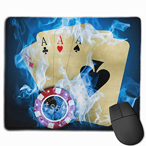 ASKSSD Mouse Pad Blue Fire Ace Cards Rectangle Rubber Mousepad 11.81 X 9.84 Inch Gaming Mouse Pad with Black Lock Edge