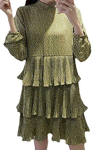 erdbeerloft - Damen Floral Gemustertes Langarm Volant Kleid, XS-XL, Viele Farben Grün