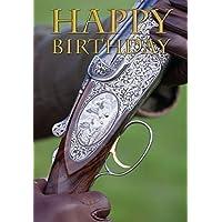 Tarjeta de cumpleaños fotográfica de escopeta beretta para la gente que le gusta el tiro al blanco. De Charles Sainsbury-Plaice- Tamaño grande A5 con sobre.