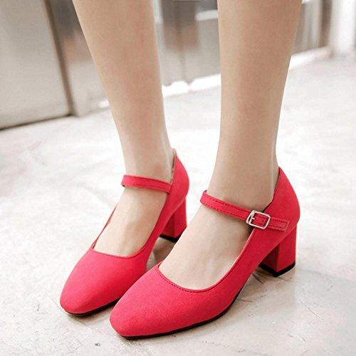 TAOFFEN Femme Elegant Bloc Talon Moyen Printemps Automne Bride Boucles Chaussures Basse Rouge